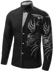 Totem Print Turn-down Collar Long Sleeve Shirt For Men - BLACK