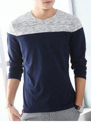 Long Sleeve Space Dye Two Tone Tee - LIGHT GRAY