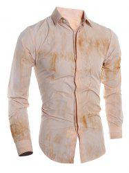 Tie Dye Turn-down Collar Long Sleeve Shirt For Men