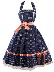 Vintage Polka Dot Halter Dress - PURPLISH BLUE