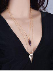 Punk Style Faux Amethyst Triangle Necklace