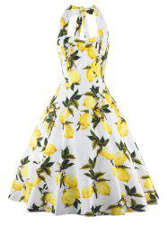 Tea Length Halter Neck Lemon Print Vintage Dress - YELLOW