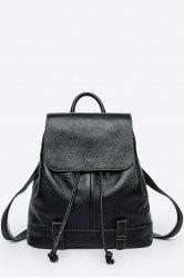 Drawstring Leather Flap Backpack - BLACK