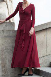 Ruffle Ruched Long Sleeve Maxi Evening Dress