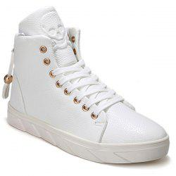 Fashionable Skull Embossed and High Top Design Casual Shoes For Men -