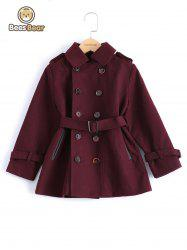 Stylish Solid Color Double-Breasted Wool Coat For Boy -