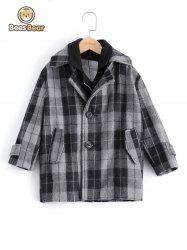 Stylish Two Button Design Plaid Furcal Wool Coat For Boy -
