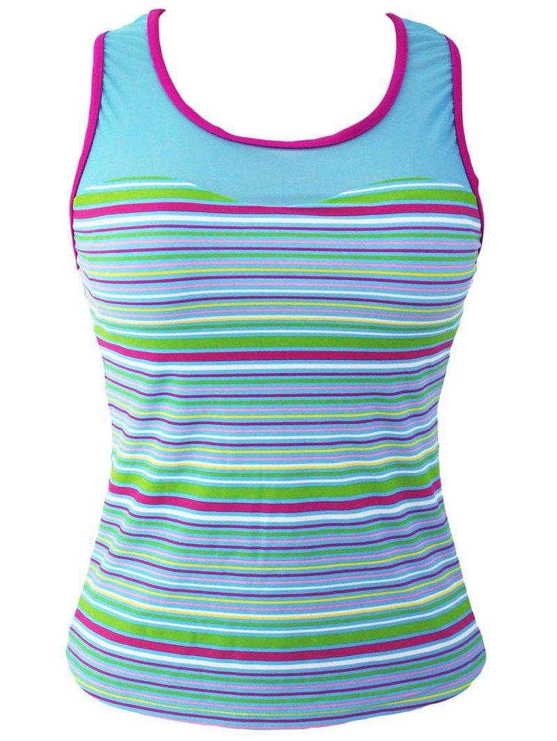Fashion Striped Racerback Padded Tankini Top