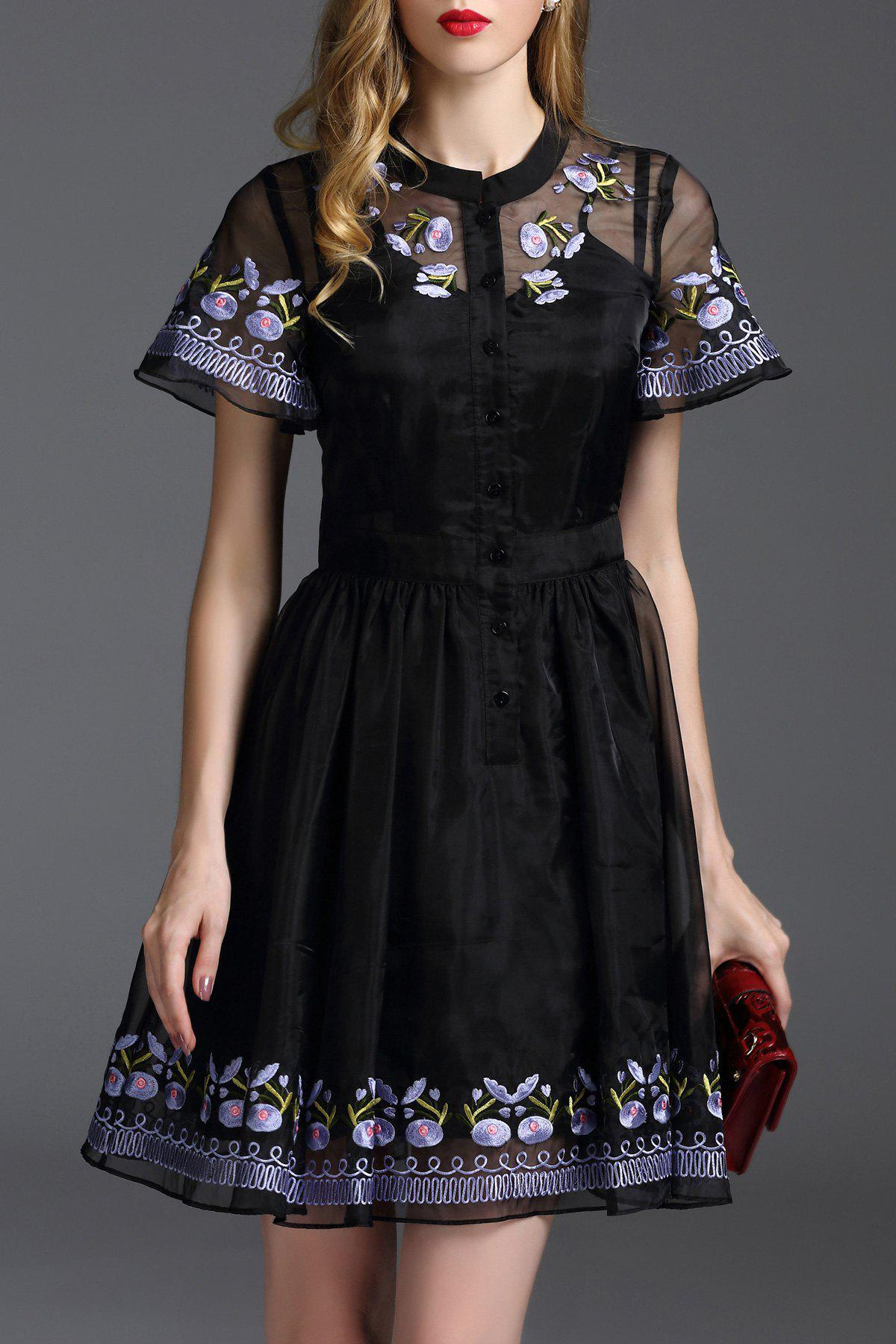 Store Floral Embroidered Mini Fit and Flare Dress