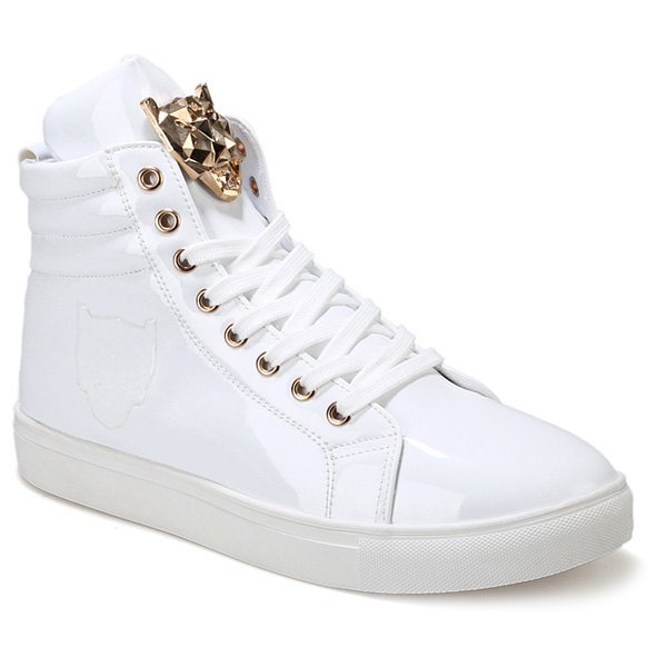 Trendy Stylish High Top and Metal Design Casual Shoes For Men