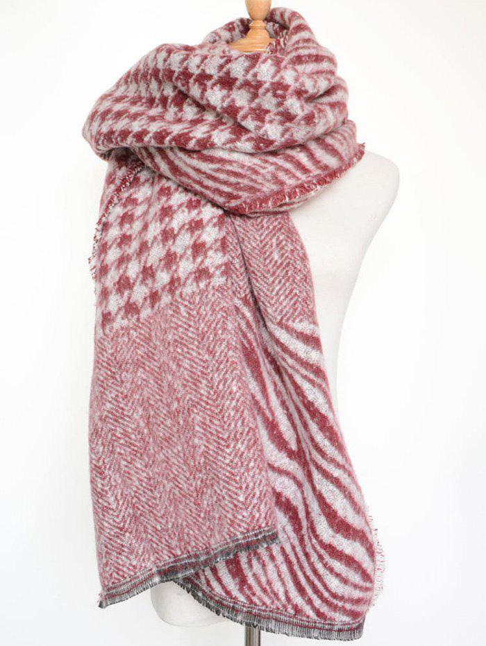 Outfit Stylish Houndstooth and Zebra Stripe Scarf