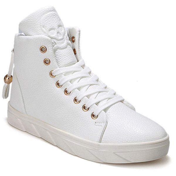 Chic Fashionable Skull Embossed and High Top Design Casual Shoes For Men