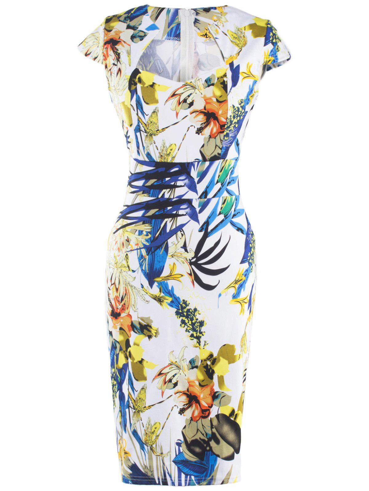 Online Fashionable Floral Print Skinny Slimming Women's Dress