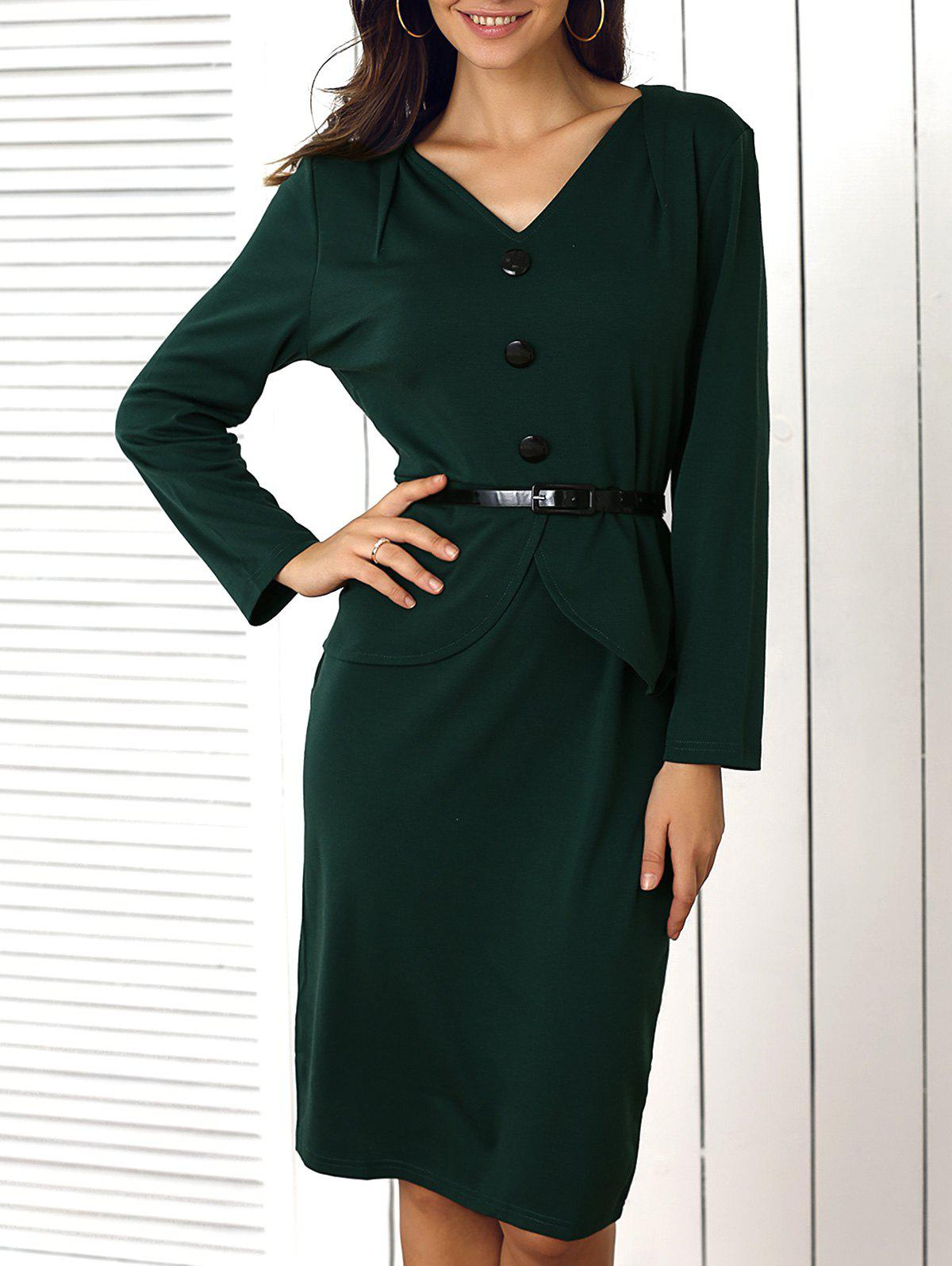 Buy Buttoned Faux Two-Piece Dress For Women