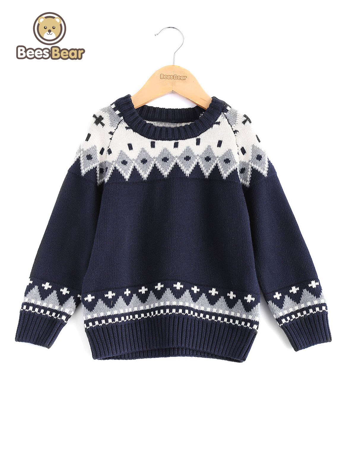 Online Geometric Pattern Jacquard Knit Pullover Sweater