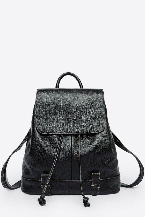 Trendy Drawstring Leather Flap Backpack