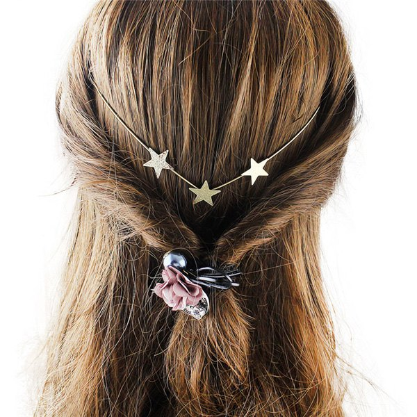 Graceful Gold Plated Pure Cololr Star Charm Hairband For WomenACCESSORIES<br><br>Color: GOLDEN; Headwear Type: Hairbands; Group: Adult; Gender: For Women; Style: Vintage; Pattern Type: Star; Weight: 0.020kg; Package Contents: 1 x Hairband;