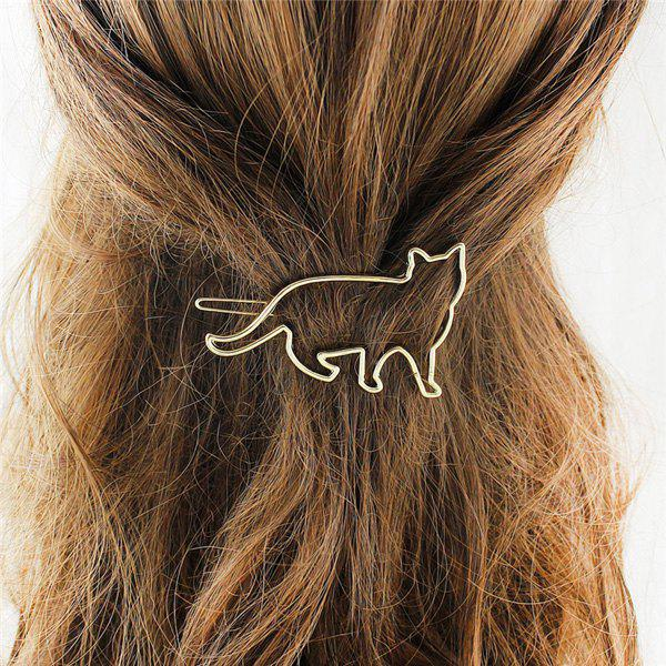 New Trendy Solid Color Gold Plated Cut Out Cat Shape Hairpin For Women