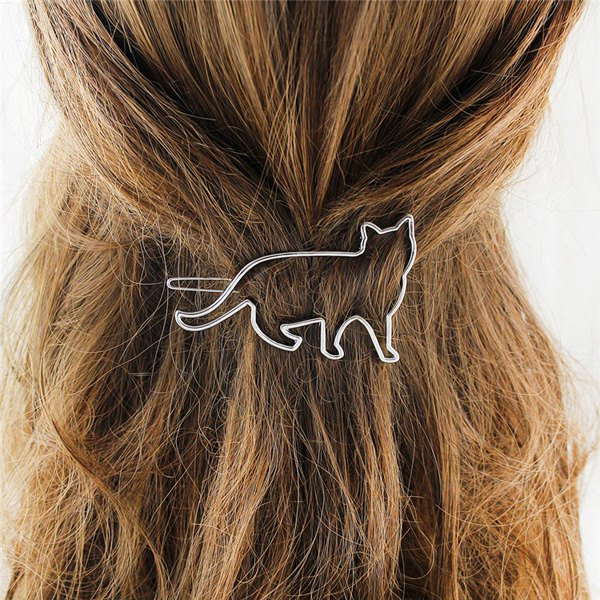Trendy Trendy Solid Color Gold Plated Cut Out Cat Shape Hairpin For Women