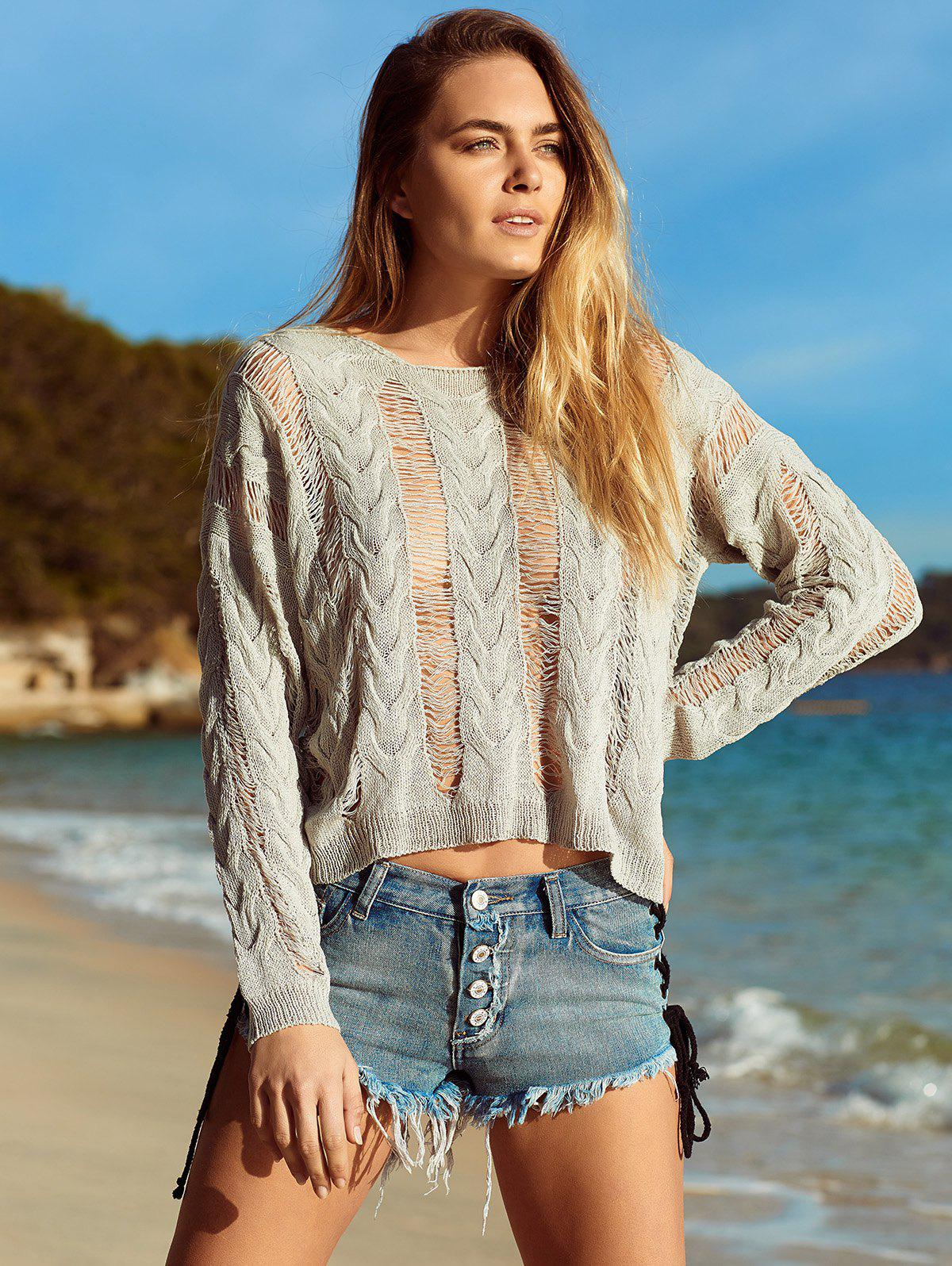 Shops Long Sleeve Knitted Crochet See Through   Cover-Up