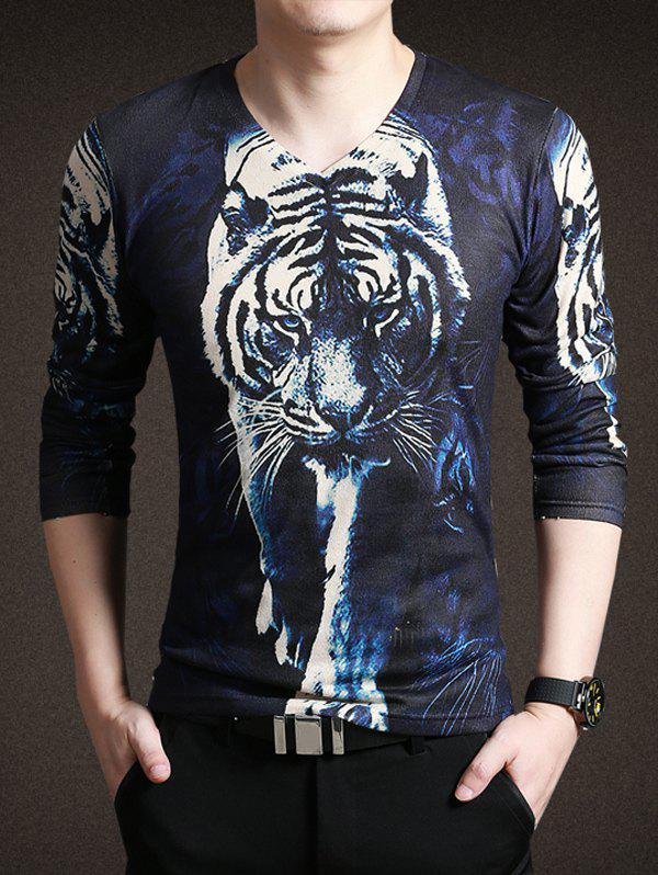 Buy New Look 3D Tiger Print V-Neck Long Sleeve Tee For Men