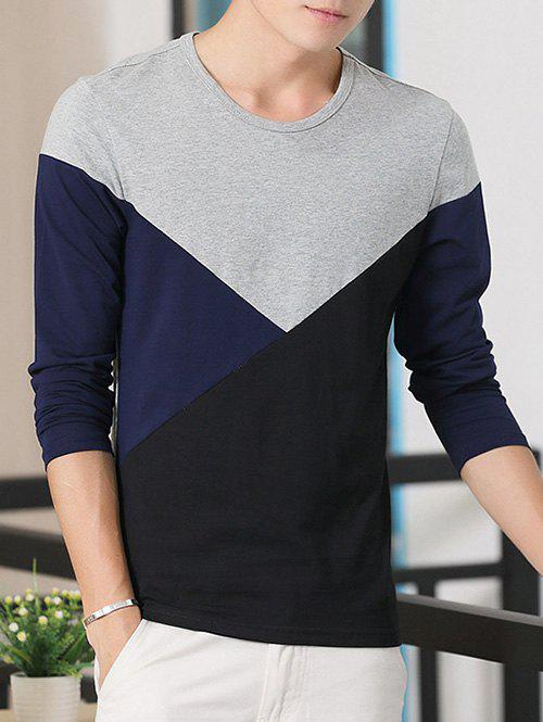 Round Neck Long Sleeve Color Block TeeMEN<br><br>Size: M; Color: GRAY; Material: Cotton Blends; Sleeve Length: Full; Collar: Round Neck; Style: Casual; Pattern Type: Solid; Season: Fall,Spring; Weight: 0.256kg; Package Contents: 1 x T-Shirt;