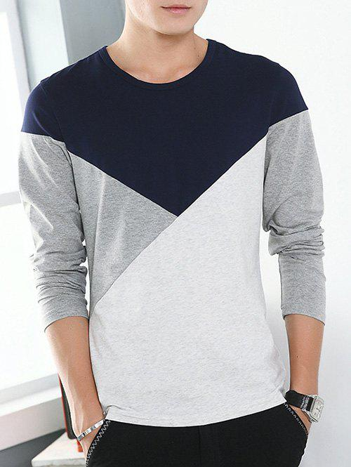 Round Neck Long Sleeve Color Block TeeMEN<br><br>Size: 2XL; Color: PURPLISH BLUE; Material: Cotton Blends; Sleeve Length: Full; Collar: Round Neck; Style: Casual; Pattern Type: Solid; Season: Fall,Spring; Weight: 0.256kg; Package Contents: 1 x T-Shirt;