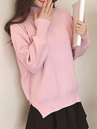 Outfits Split High Neck Candy Color Long Sleeve Sweater