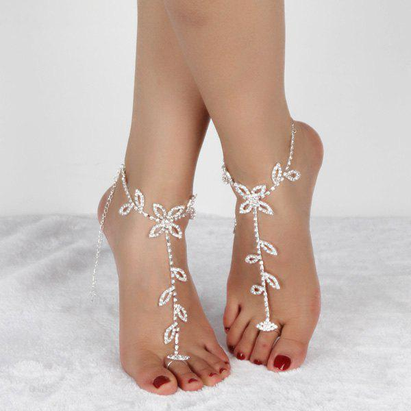 Chic Pair of Rhinestoned Leaf Anklets