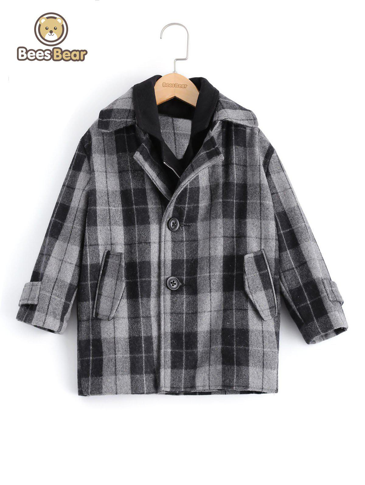 Store Stylish Two Button Design Plaid Furcal Wool Coat For Boy