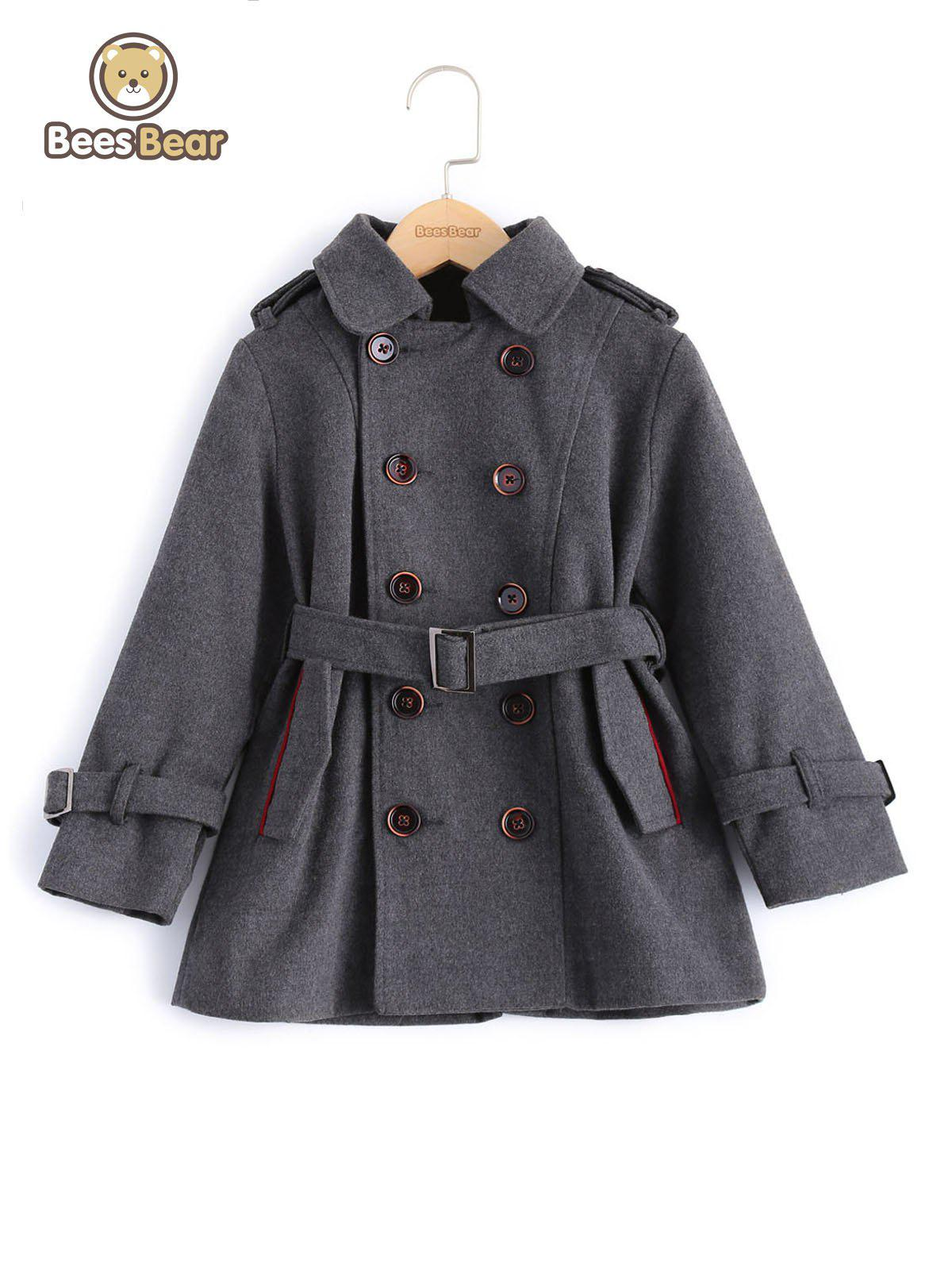 Outfit Stylish Solid Color Double-Breasted Wool Coat For Boy