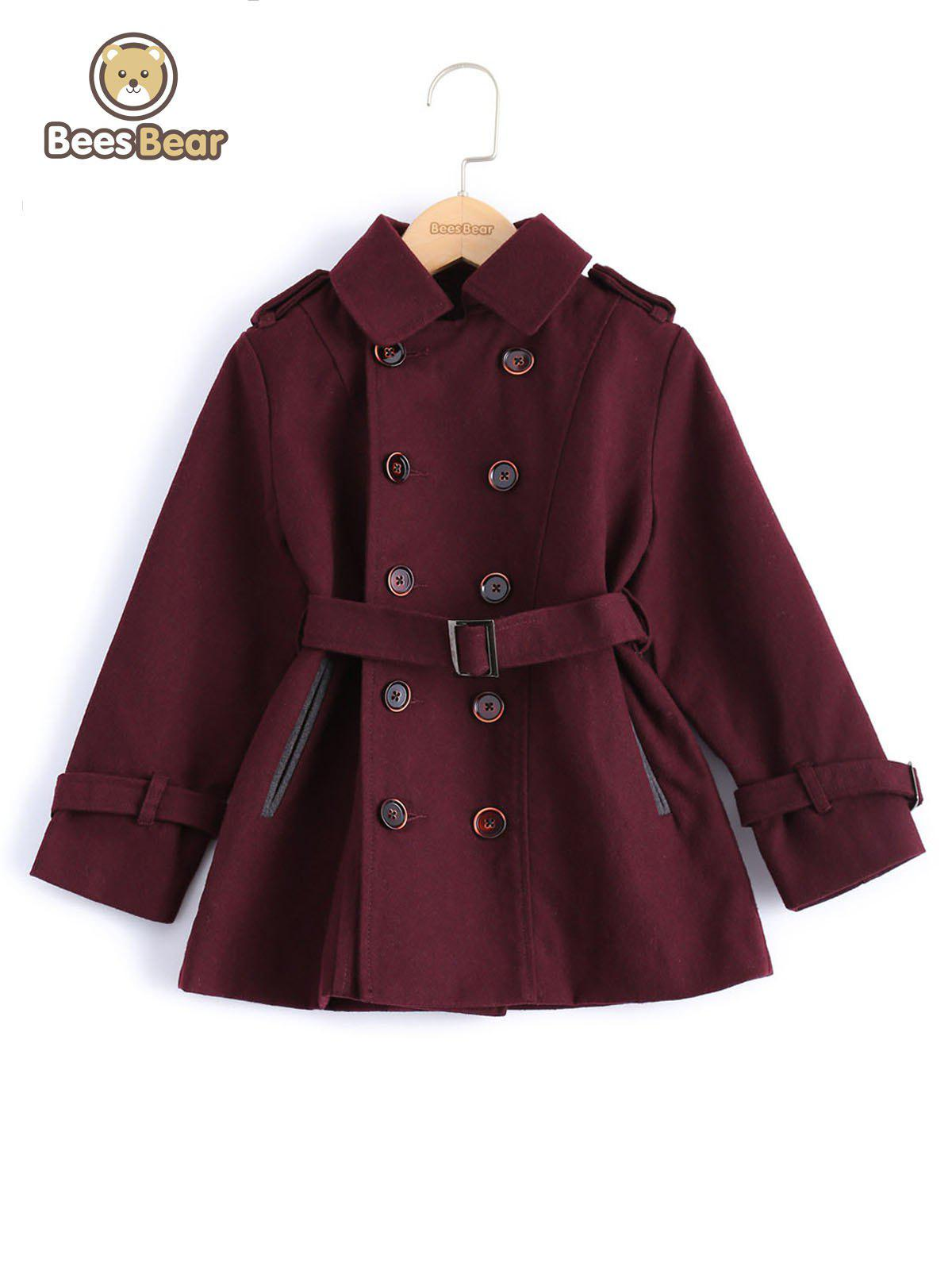 Cheap Stylish Solid Color Double-Breasted Wool Coat For Boy