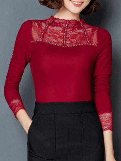 Discount Trendy Solid Color Lace Spliced Slim Blouse