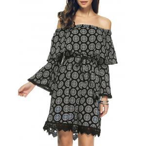 Off The Shoulder Pattern Bell Sleeve Crochet Trim Dress
