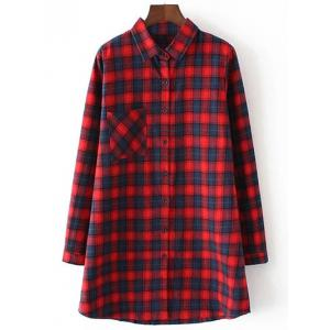 Long Sleeve Casual Gingham Print Single Pocket Shirt