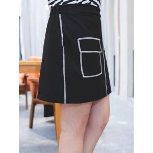 Plus Size Flap Pockets Topstitch Skirt -