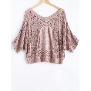 Cute Dolman Sleeve Carving Crochet V Neck See-Through Blouse -