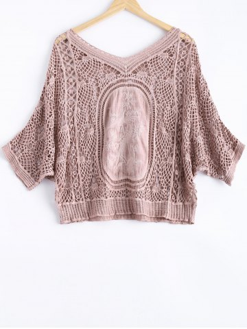 Outfit Cute Dolman Sleeve Carving Crochet V Neck See-Through Blouse