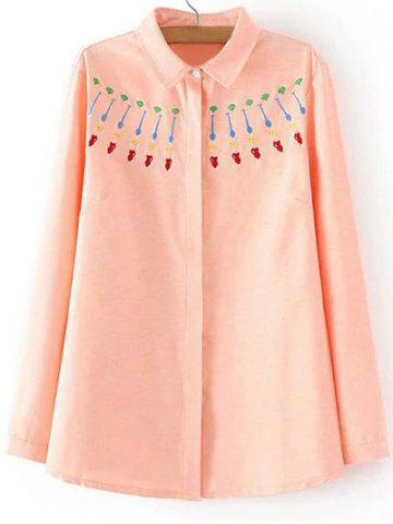 Store Plus Size Sweet Embroidery Shirt ORANGEPINK 3XL
