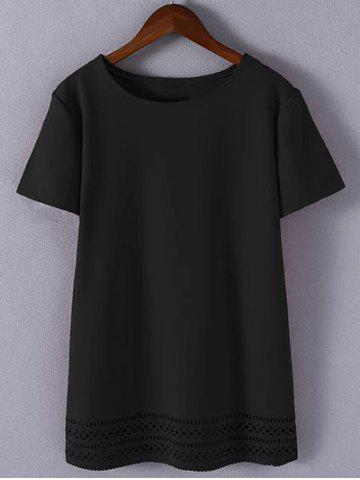 Chic Plus Size Sweet Hollow Out T-Shirt BLACK 4XL