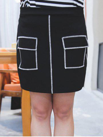 Online Plus Size Flap Pockets Topstitch Skirt