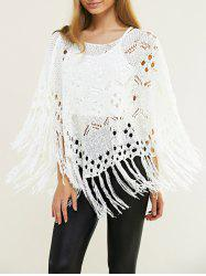 Fashion Crochet Fringe Pure Color Cape Blouse