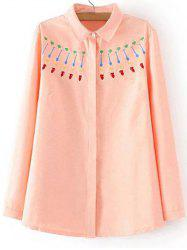 Plus Size Sweet Embroidery Shirt - ORANGEPINK 3XL