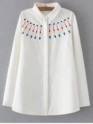 Plus Size Sweet Embroidery Shirt
