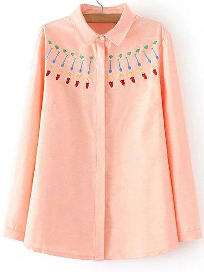 Hot Plus Size Sweet Embroidery Shirt