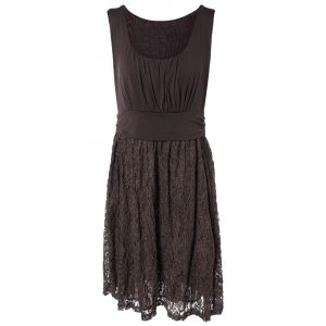 Embroidery Lace Splicing Tank Dress