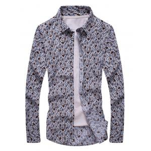 Floral Paisley Print Turn-down Collar Long Sleeve Shirt For Men