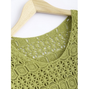 Cute Lace Crochet See-Through Pure Color Blouse -