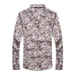 Ornate Print Turn-down Collar Long Sleeve Shirt For Men -