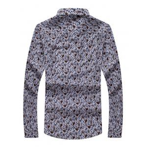 Floral Paisley Print Turn-down Collar Long Sleeve Shirt For Men - COLORMIX 5XL